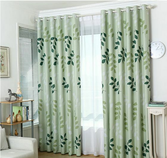 Summer Leaves Blockout Eyelet Curtains Country Style