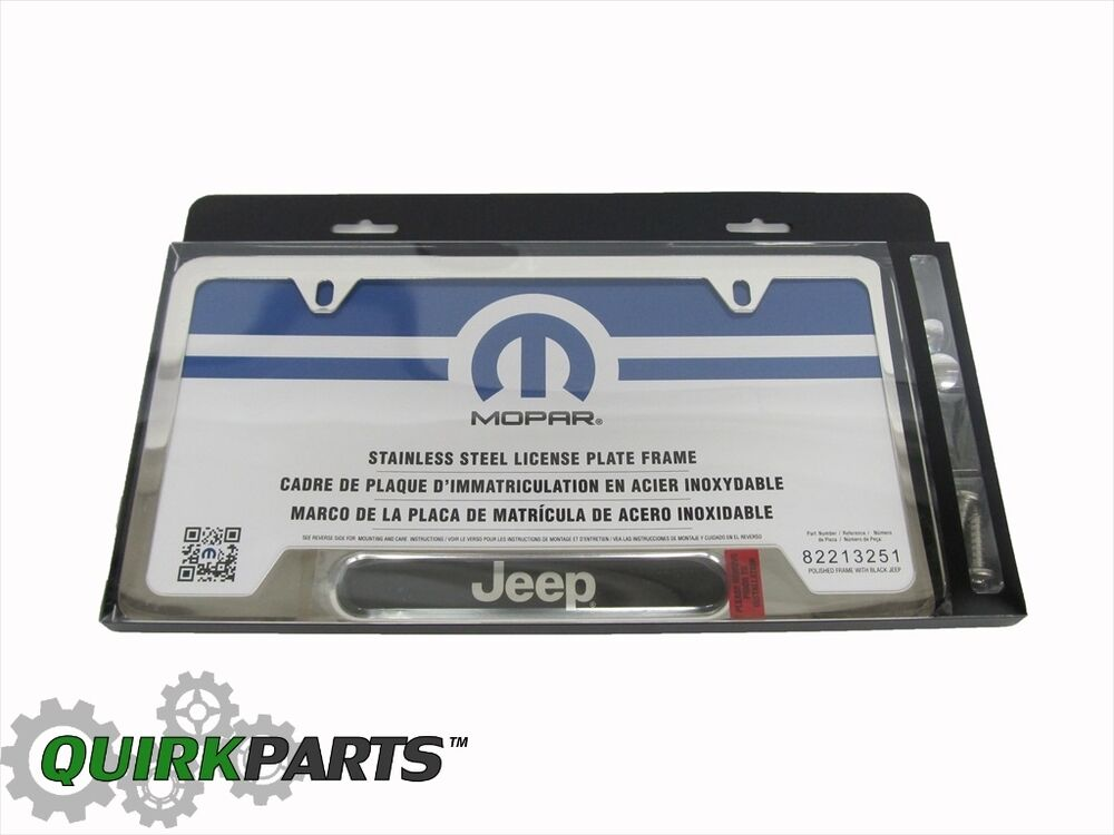 steel license plate frame hardware w jeep logo new mopar ebay. Cars Review. Best American Auto & Cars Review