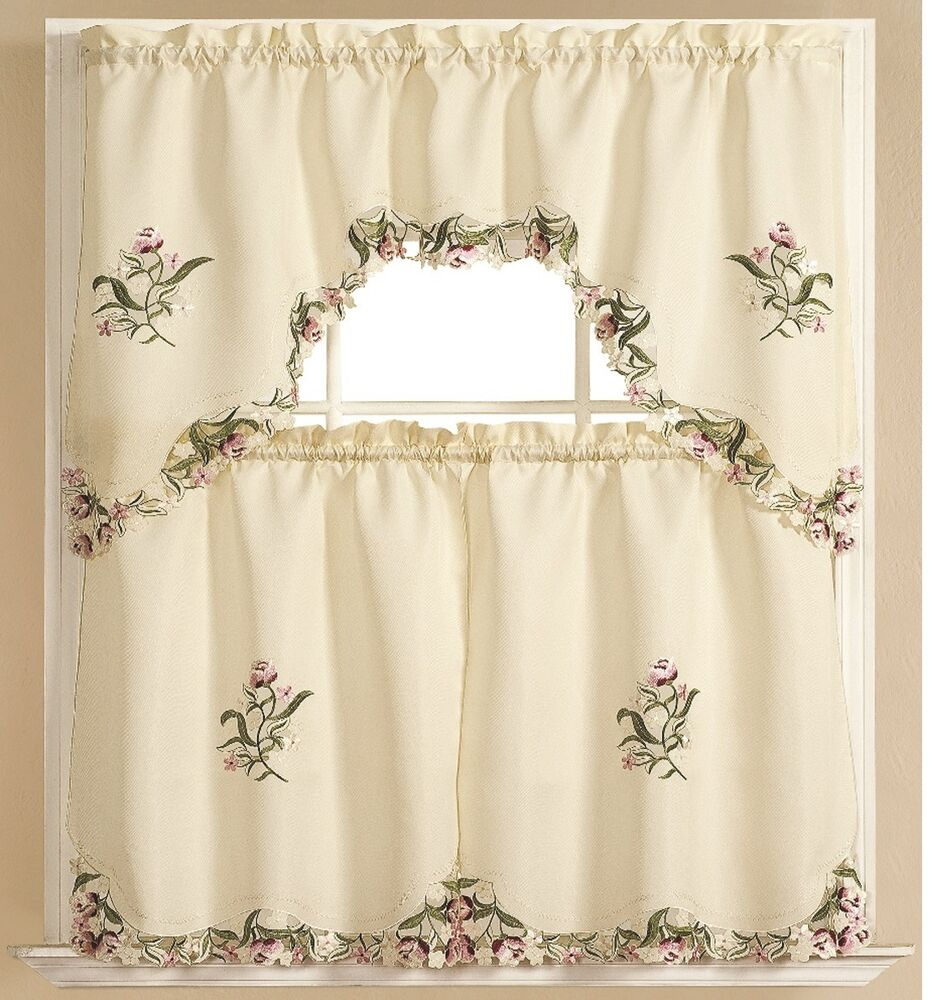 Kitchen curtain embroidered 3 pc applique set one swag for Valance curtains for kitchen