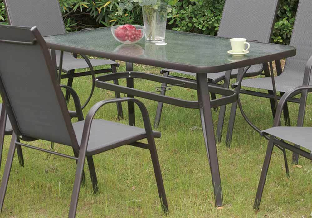 New stylish patio outdoor garden yard dining table frosted for Glass top outdoor dining table