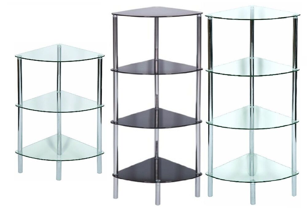Shelving Unit Corner Display Side End Table Glass Shelf