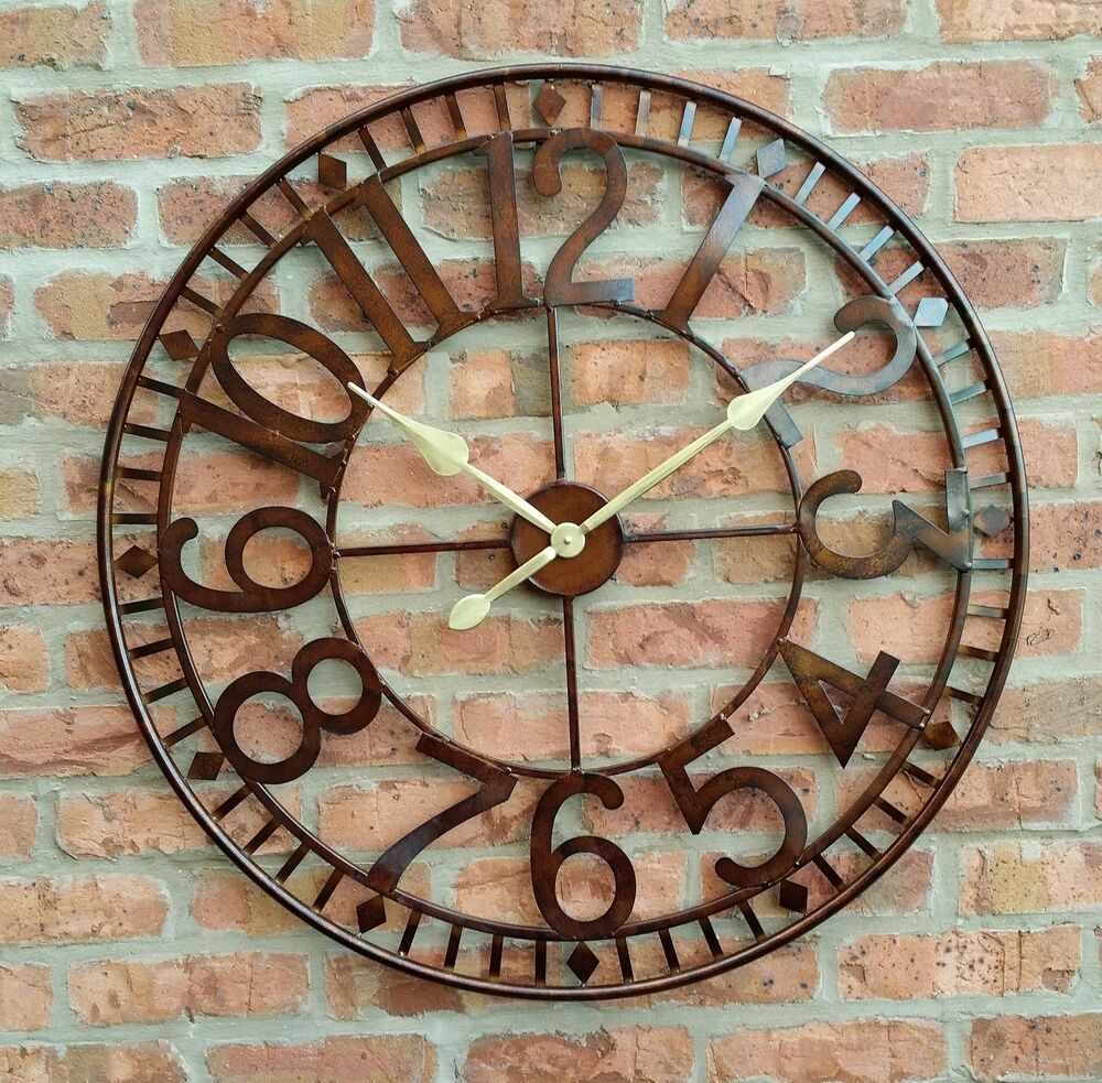 LARGE OUTDOOR GARDEN WALL CLOCK BIG ARABIC NUMERALS GIANT ...