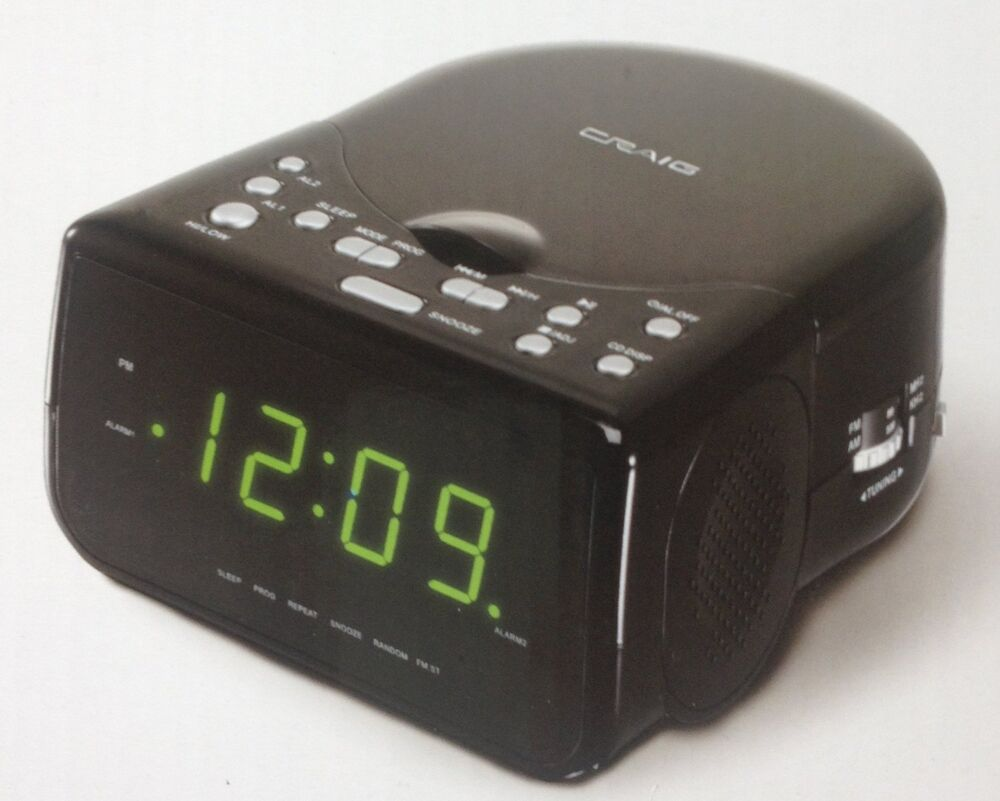 craig am fm stereo dual alarm clock radio w cd player and. Black Bedroom Furniture Sets. Home Design Ideas
