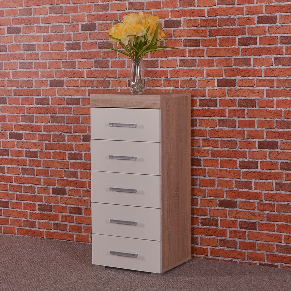 White Amp Sonoma Oak Tall Boy Chest Of 5 Drawers Bedroom