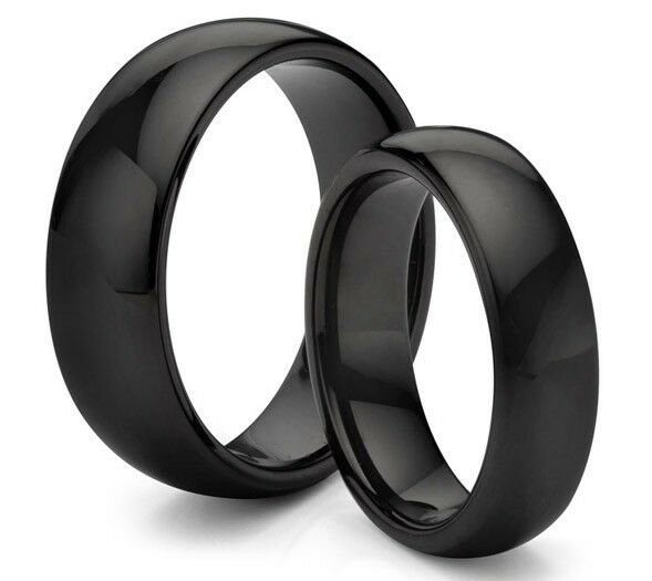 His amp her s 8mm 6mm tungsten carbide classic black wedding band ring