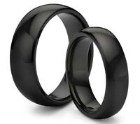 His & Her's 8MM/6MM Tungsten Carbide Classic Black Wedding Band Ring Set