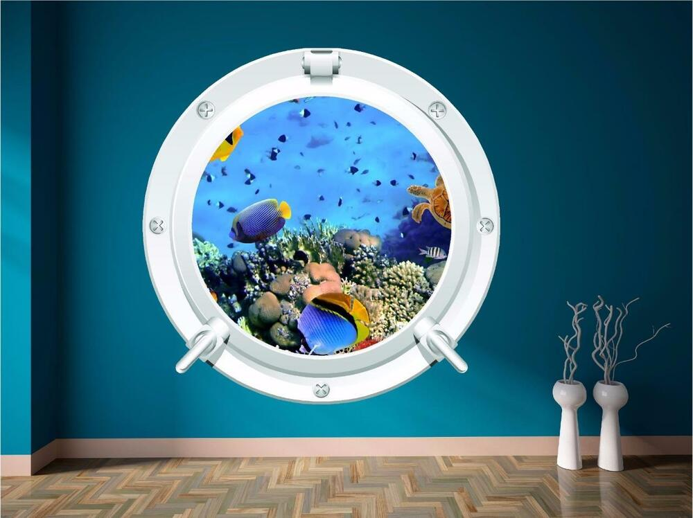 Sea Aquarium Fish Porthole Under Water Submarine Wall Art
