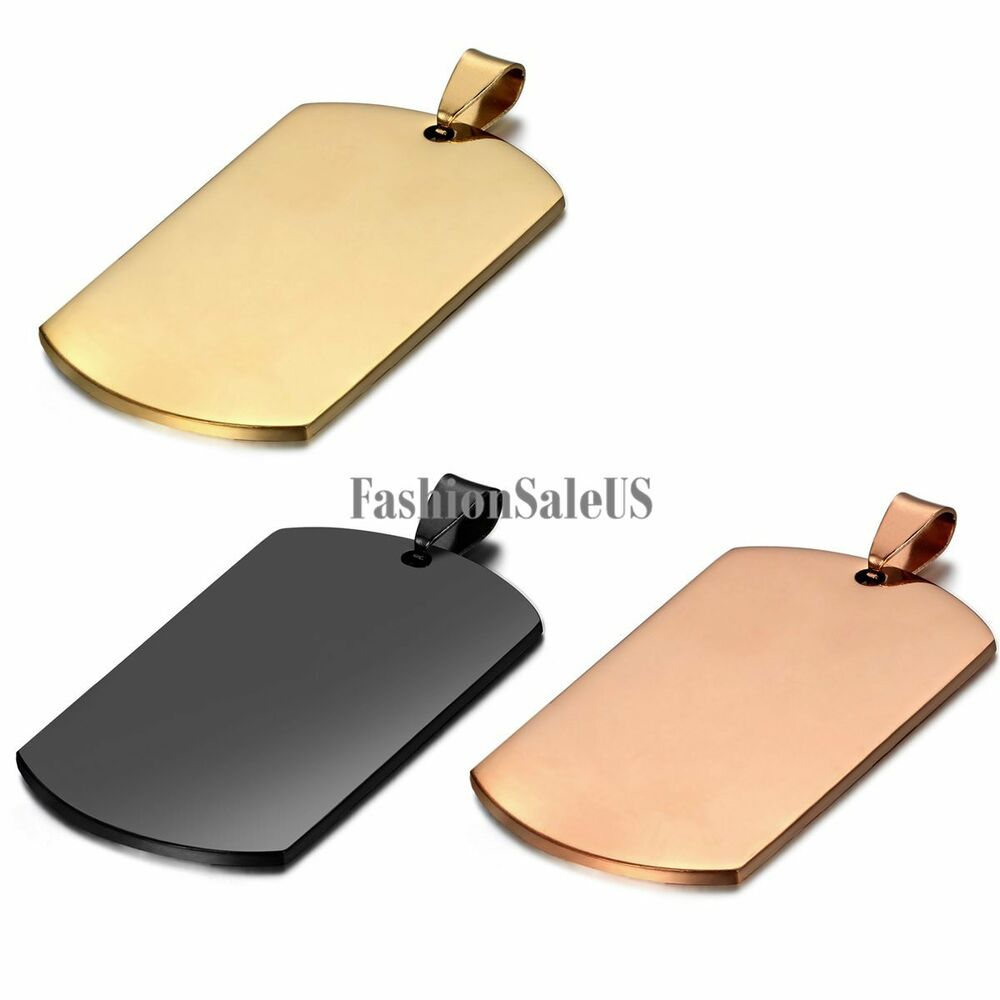 Men's Stainless Steel Polished Army Military Dog Tag ...