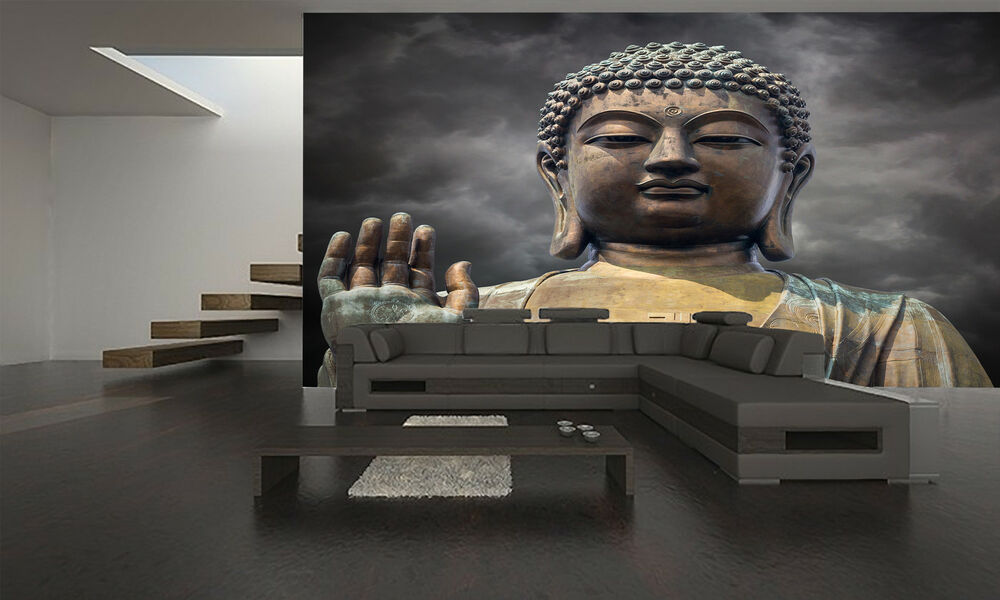 Statue of buddha face wall mural photo wallpaper giant for Poster mural 4 murs