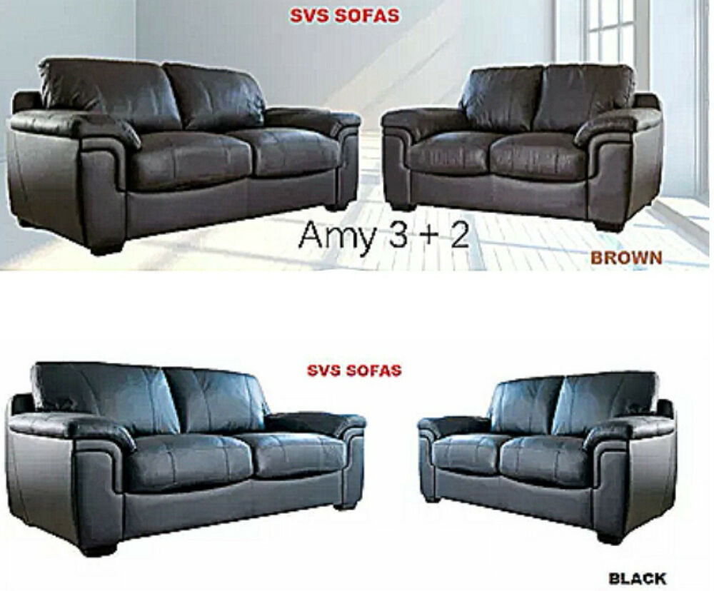 brand new lush amy 3 2 seater black brown faux leather sofa suite set ebay. Black Bedroom Furniture Sets. Home Design Ideas
