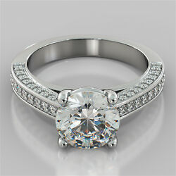 2.85Ct Round Cut Engagement Ring in 14K White Gold with Optional Matching Band