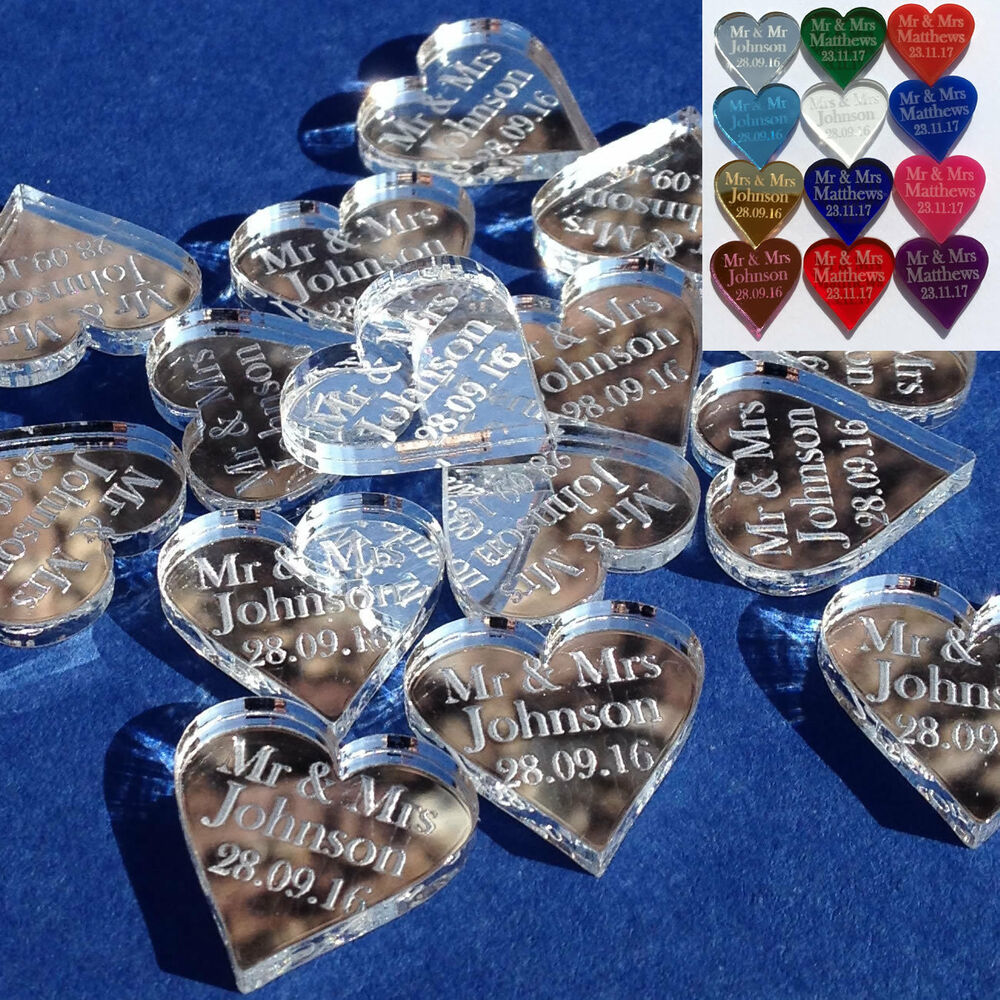 Personalised Wedding Table Gifts : Personalised Love Hearts Wedding Favours Mr & Mrs Table Confetti ...