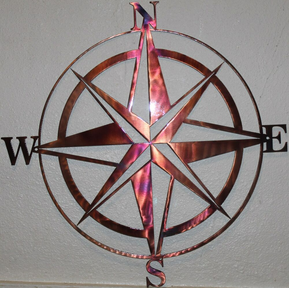 Nautical Compass Wall Decor : Quot compass rose silhouette nautical metal wall art home