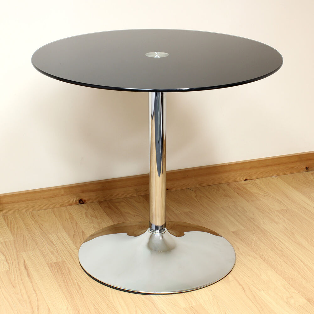 Hartleys 80cm black chrome round glass dining kitchen for Stylish round dining table