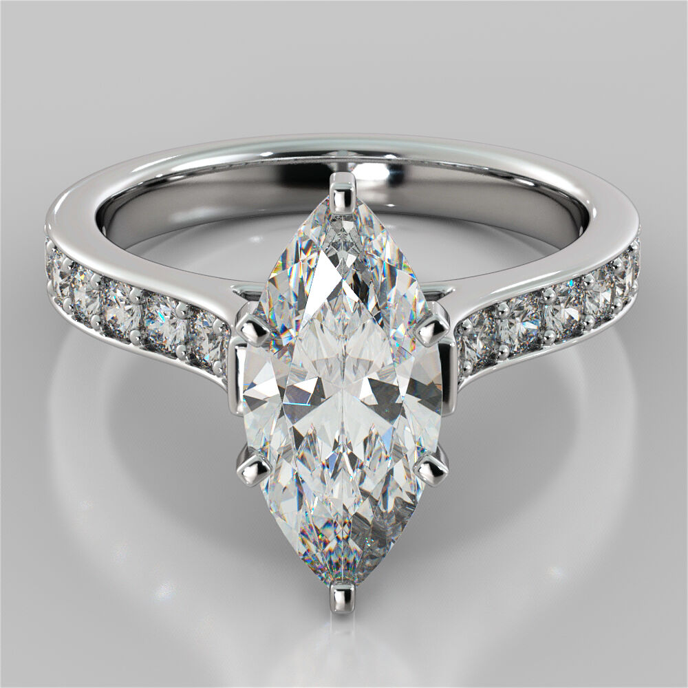Marquise Cut Cathedral Engagement Ring 14K White Gold