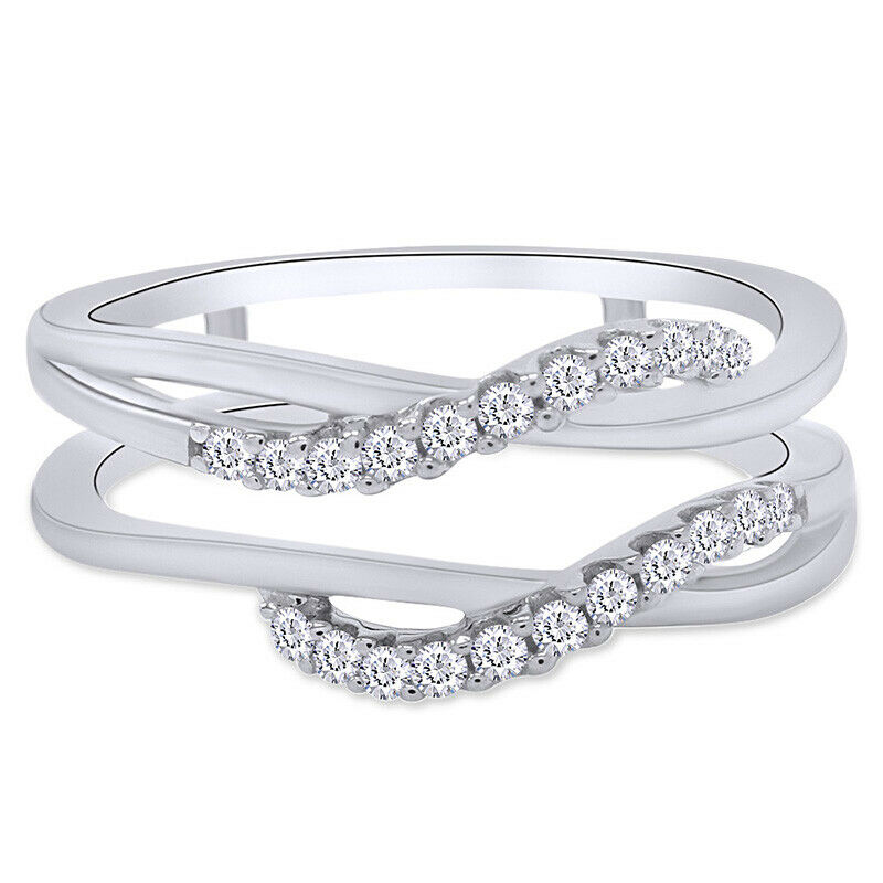 10k white gold ct solitaire enhancer diamonds ring