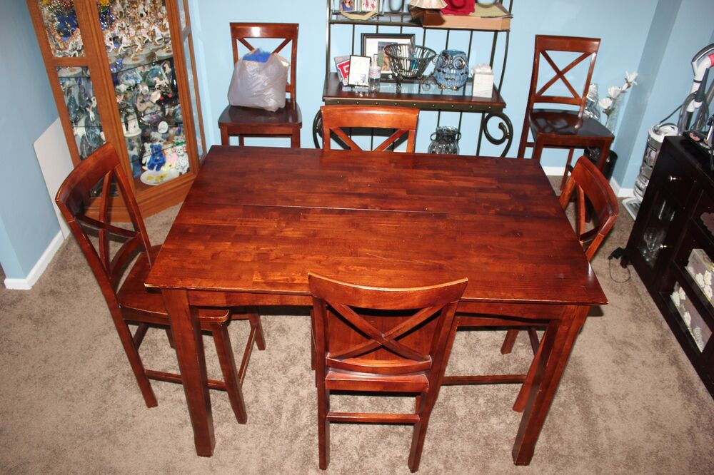 6 chair dining table with built in leaf ebay for Built in dining table