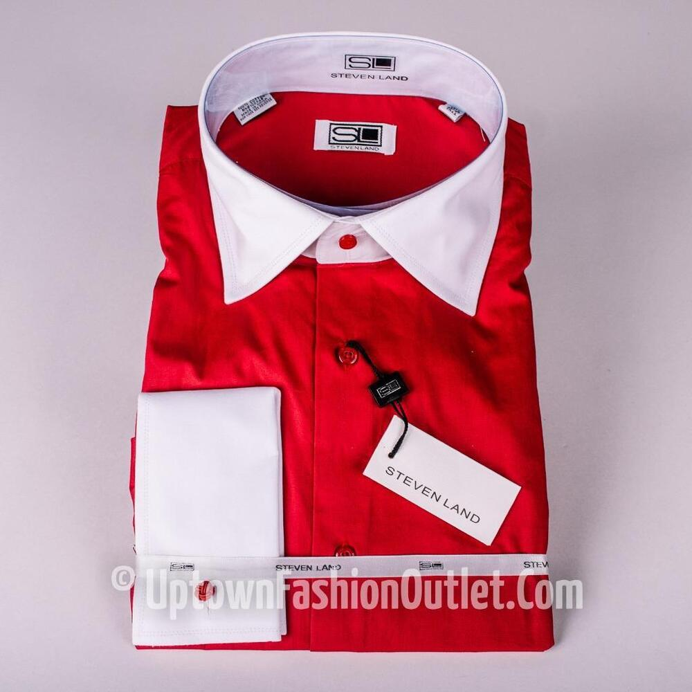 Men 39 s steven land red white spread collar and french cuffs for Men s spread collar shirts