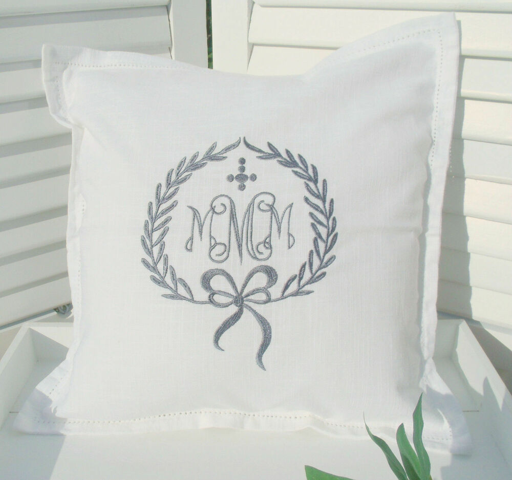 joel deko kissen bezug wei monogramm grau shabby chic franske landhaus cushion ebay. Black Bedroom Furniture Sets. Home Design Ideas