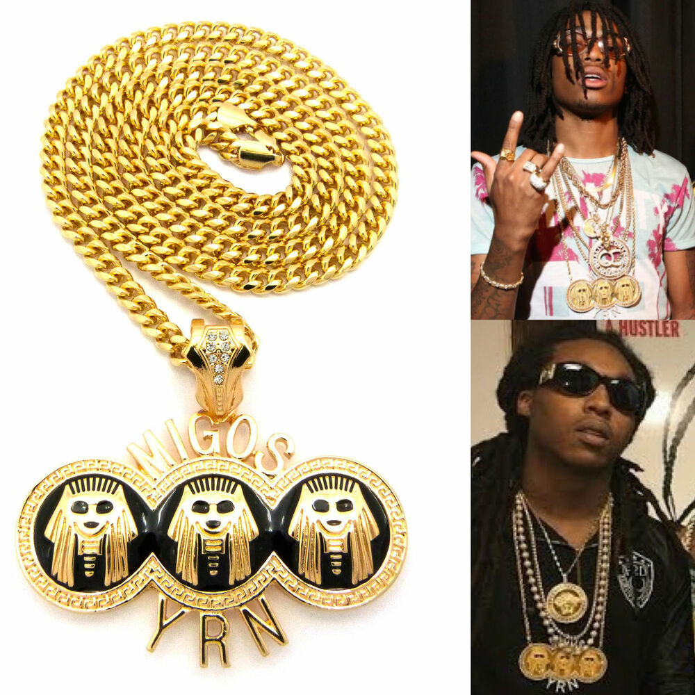 Mens Iced Out Hip Hop Gold Rapper Migos Yrn Pendant Chain