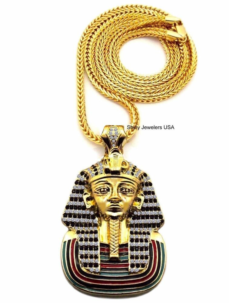 Gold Egyption King Tut Pharaoh Pendant 4mm 36 Quot Franco Chain Fashion Necklace Ebay