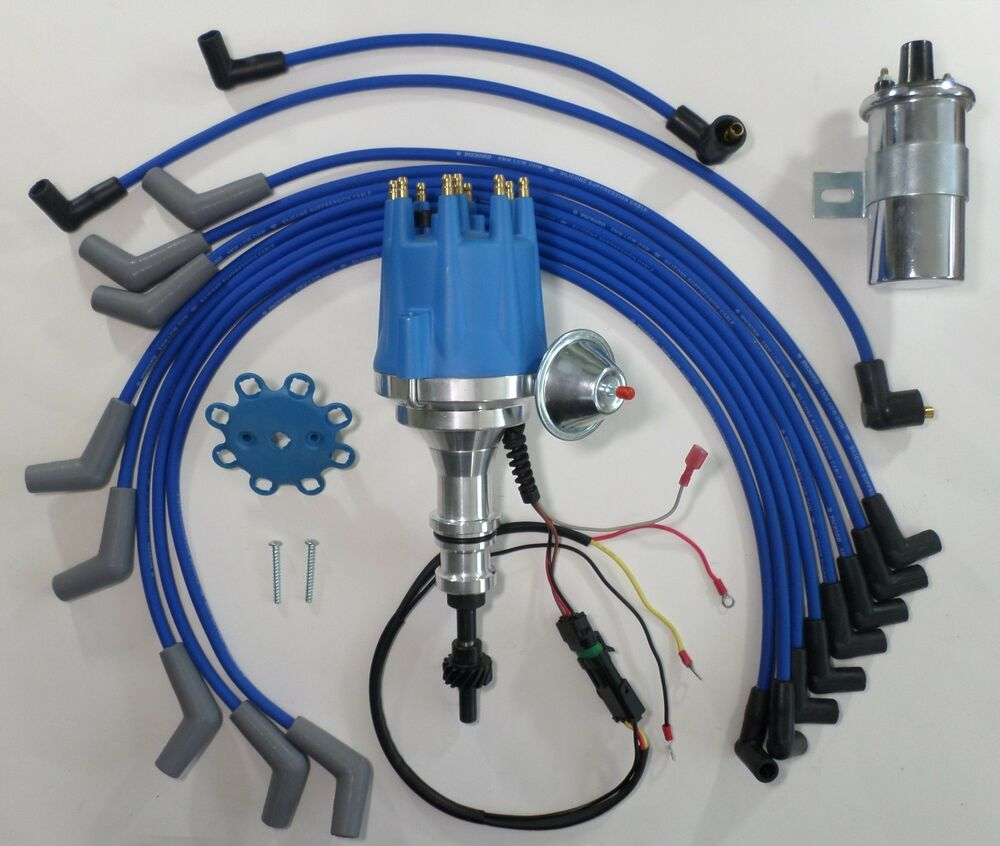 Ford 289 302 Pro Series Small Cap Hei Distributor Chrome Coil Spark Mallory Firestorm Wiring Diagram Plug Wires Ebay