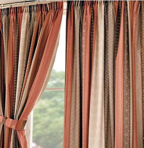 Bnip Retro Orange Brown Cream Aztec Pattern Stripe Pencil Pleat Curtains New Ebay