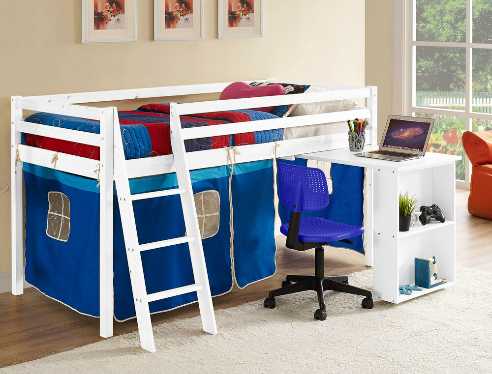 Kids Cabin Bed Mid Sleeper Wooden Pine Cabin Bed with Desk ...