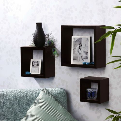 Wood Wall Mount 3 Shelf Storage Box Shelves Ledge Home Decor Floating Display 780437918726