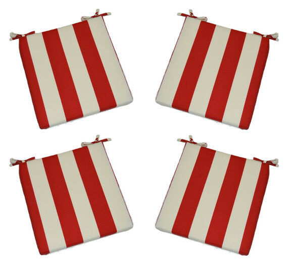 Set Of 4 In Outdoor Foam Chair Seat Cushions Red And