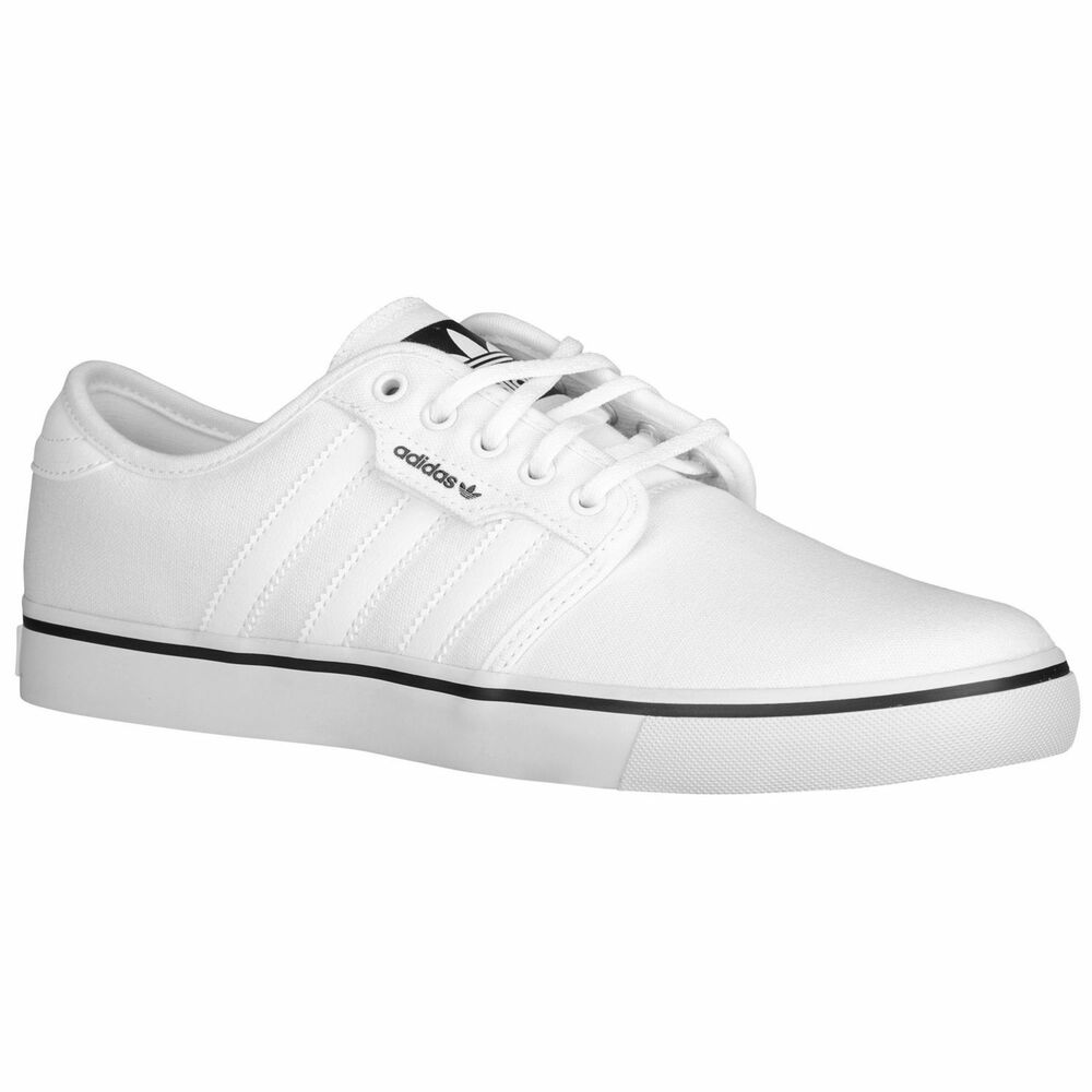 9ed569b93fc2 Details about NEW Adidas Seeley Men s Shoes White Black Canvas Casual  Trainers Skate C76794