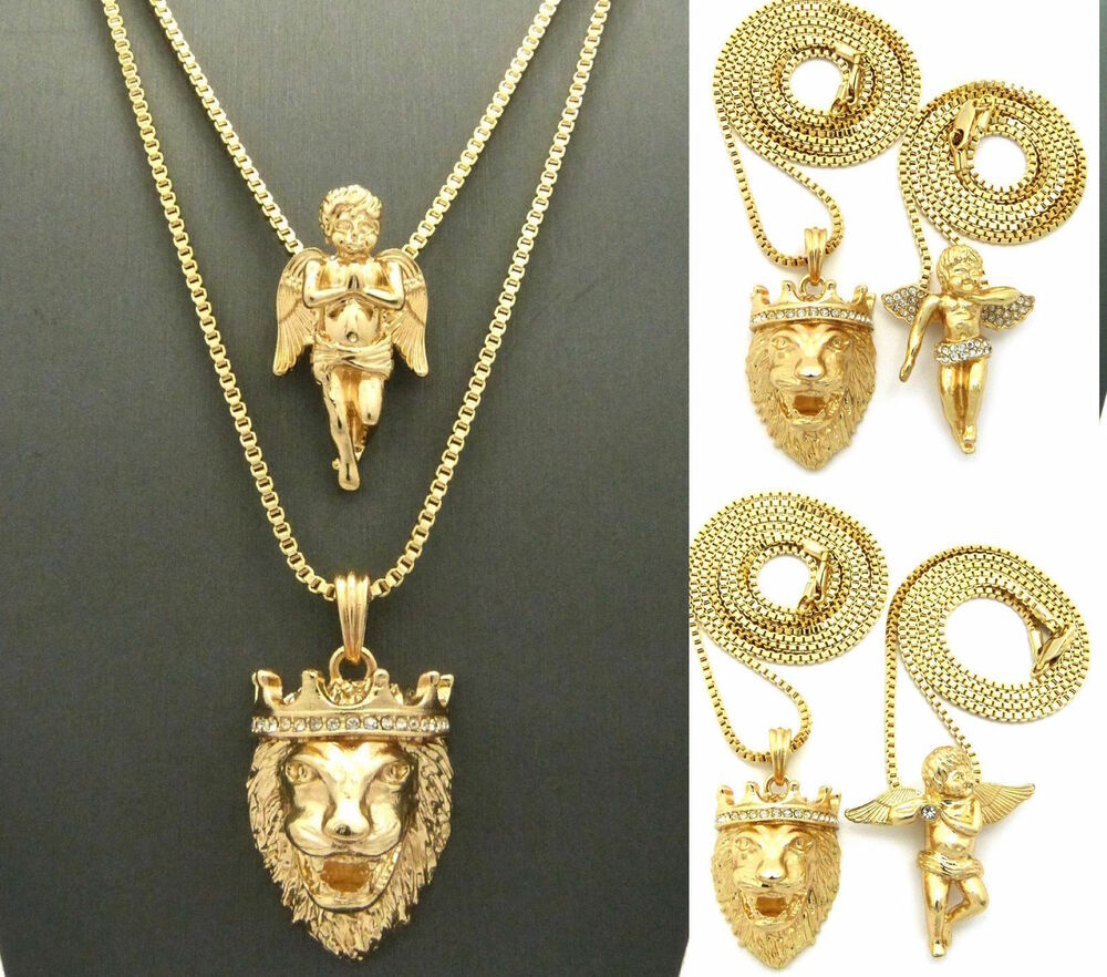 Mens Iced Out Gold Angel King Lion Pendant Box Chain