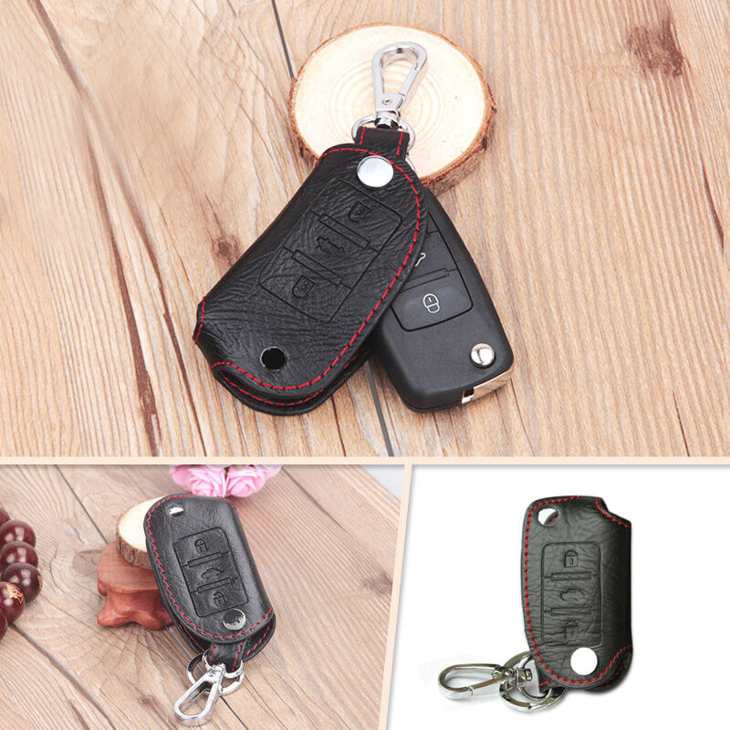Leather Remote Key Chain Holder Case Cover For Vw Golf