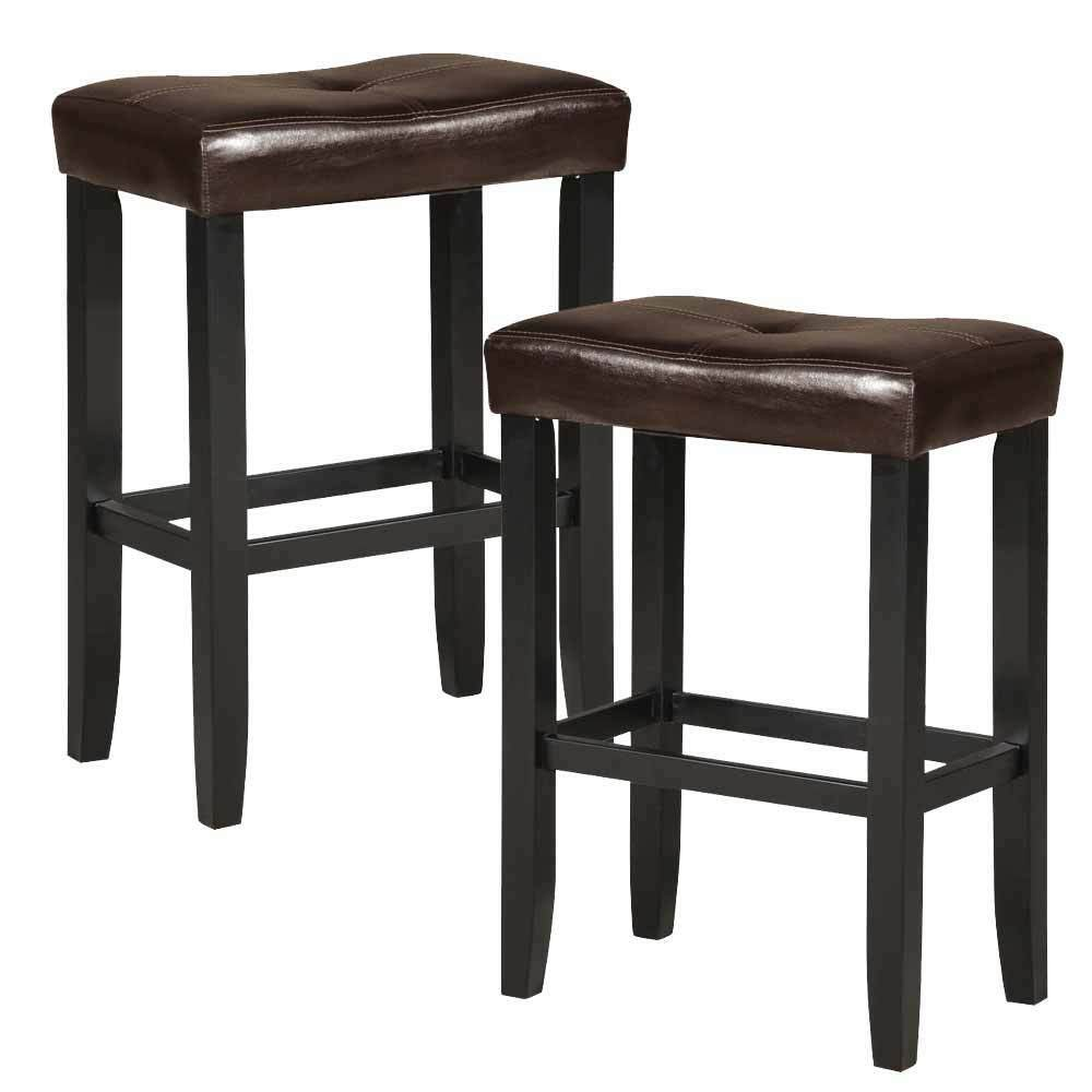 Set Of 2 Micha Saddle 30 Quot H Barstool Stools Espresso Pu