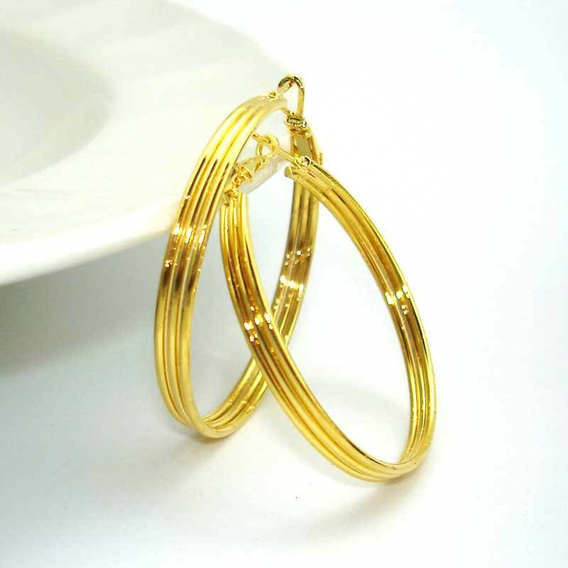 24k Yellow Gold Filled Earrings Women 40mm Smooth Rings ...