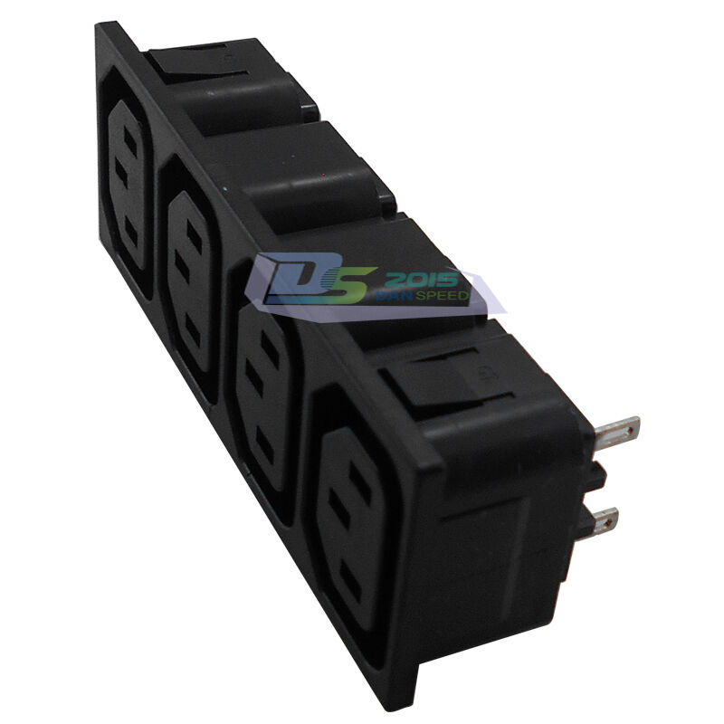 iec 320 c13 female 4 way panel mounting power inlet socket. Black Bedroom Furniture Sets. Home Design Ideas