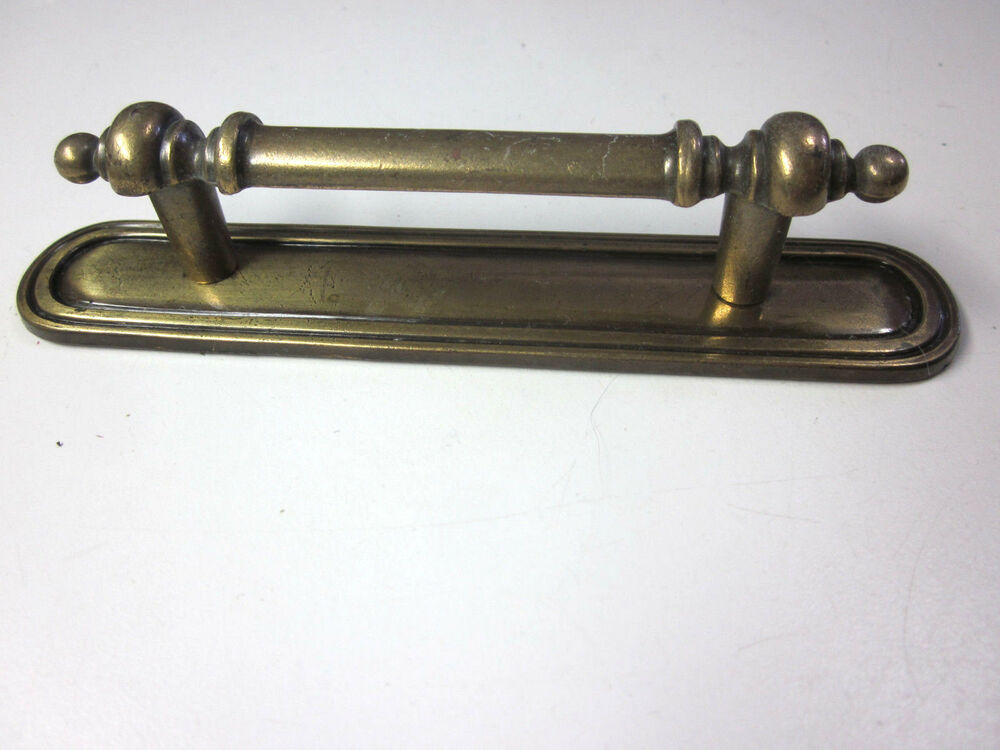 Vintage Solid Brass Drawer Pull Handle W Backplate Keeler