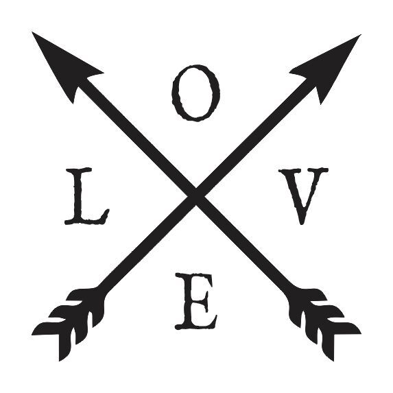 STENCIL*LOVE w/crossed arrows*12x12 for Signs Wood Fabric