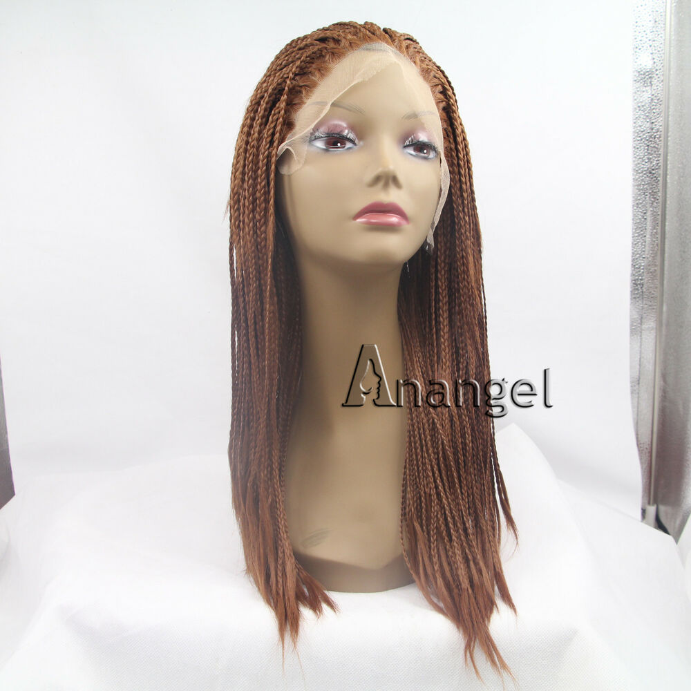 Synthetic Braided Lace Front Wig Heat Resistant Long Brown