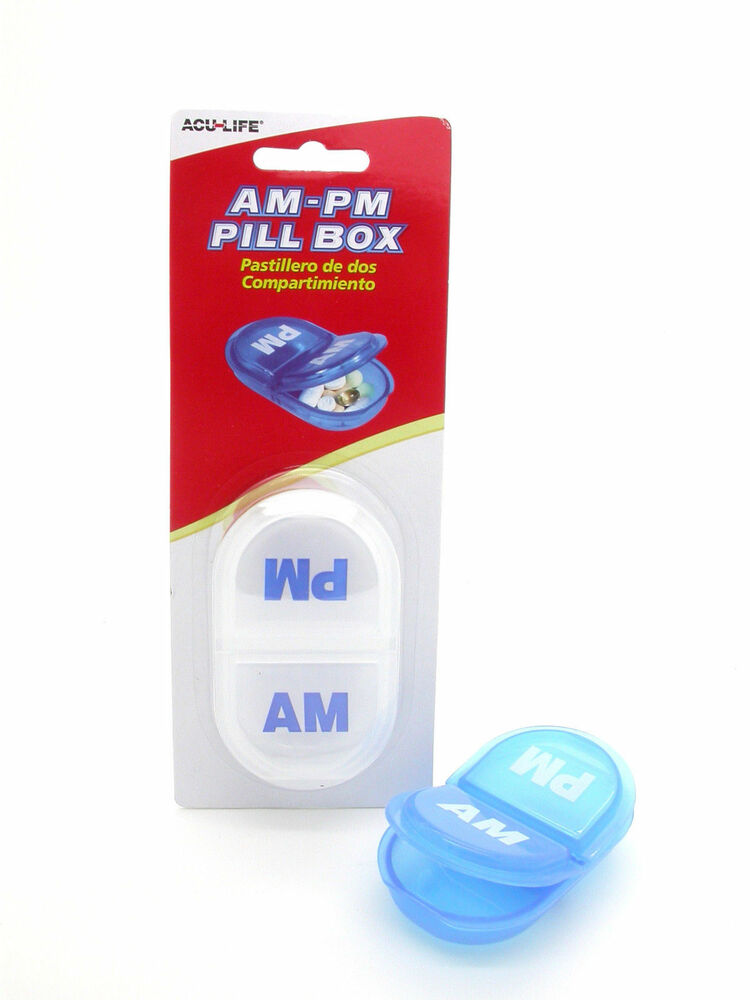 daily pill box am pm reminder organizer day storage medication medicine 2x ebay. Black Bedroom Furniture Sets. Home Design Ideas