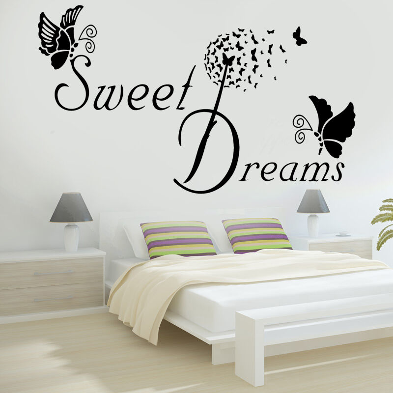 SWEET DREAMS Butterfly LOVE Quote Wall Stickers Bedroom ...