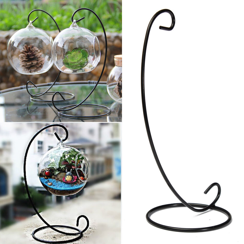 Black Metal Iron Stand Holder For Hanging Plant Pot Plant ... on Stand For Hanging Plants  id=22580