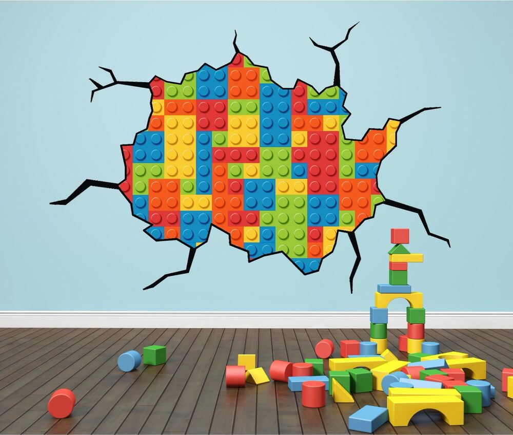Lego bricks cracked wall effect kids wall art sticker for Decoration autocollant mural