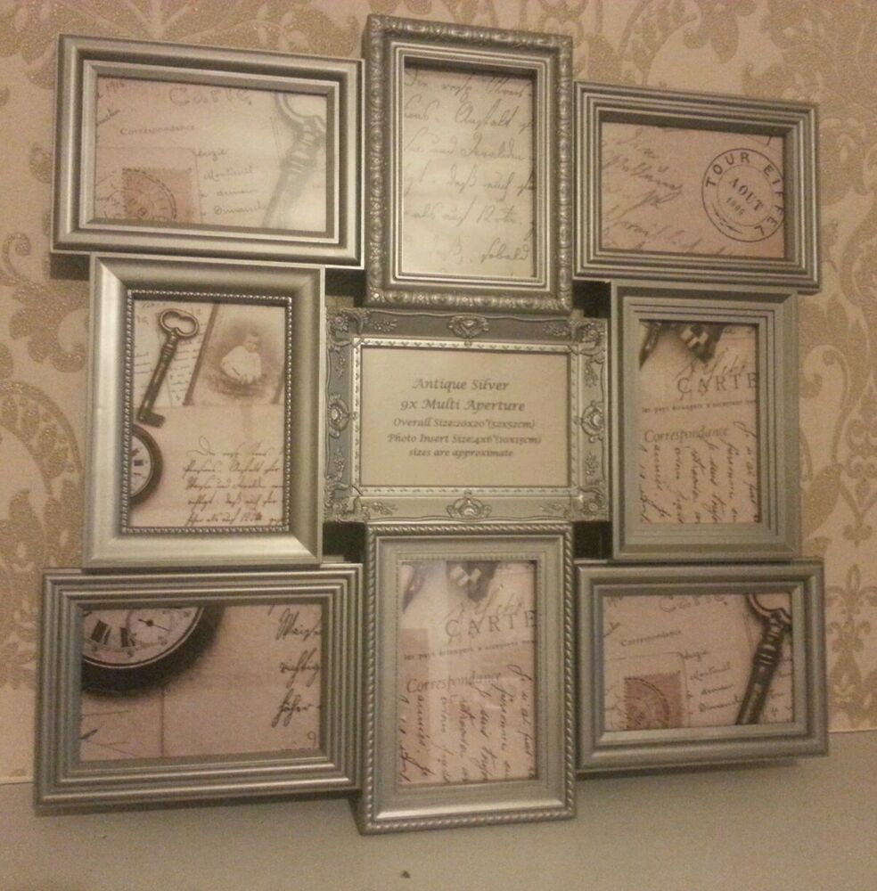 shabby chic vintage antique look large silver multi photo frame 9 picture ebay. Black Bedroom Furniture Sets. Home Design Ideas