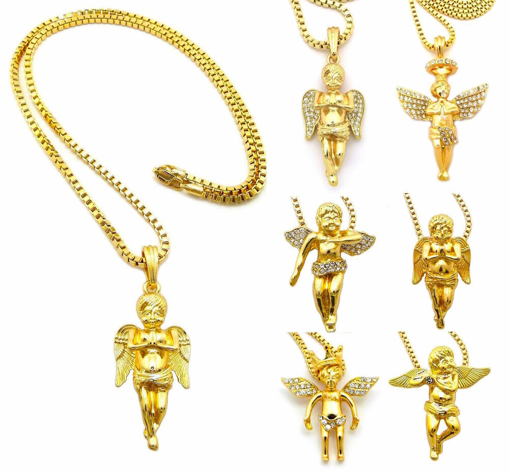 mens hip hop gold cupid baby praying micro mini
