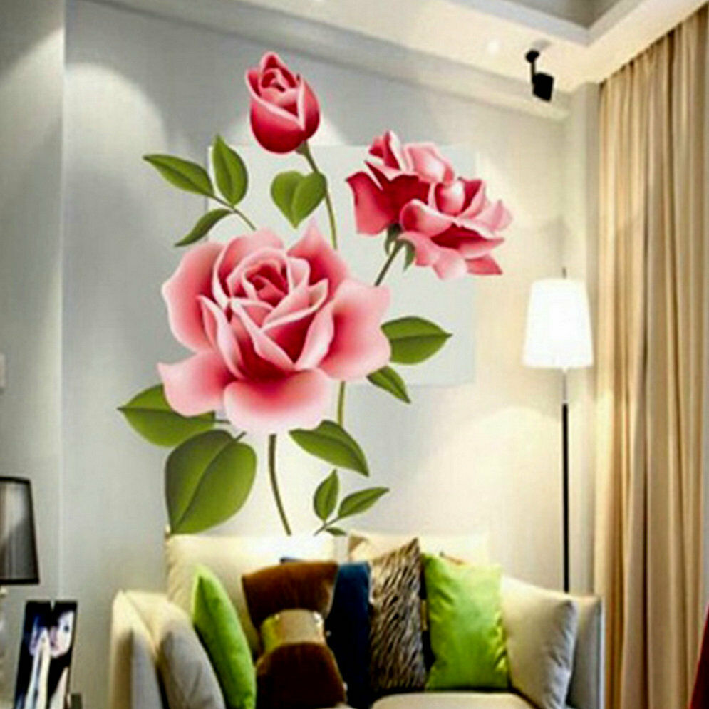 Diy Wall Flowers: Rose Flower Wall Stickers Removable Decal Home Decor DIY