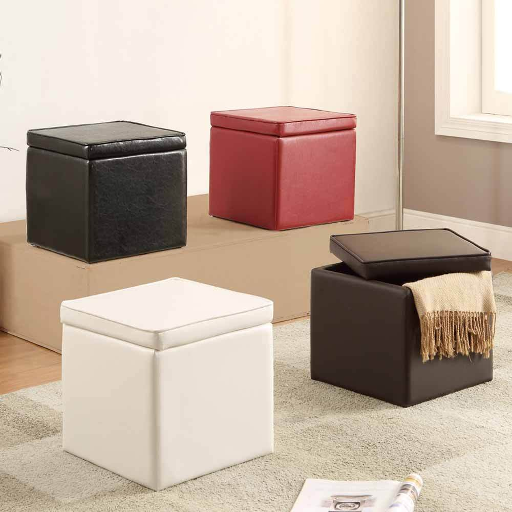 Organizer kids cube storage ottoman footstools poufs pu for Kids storage ottomans