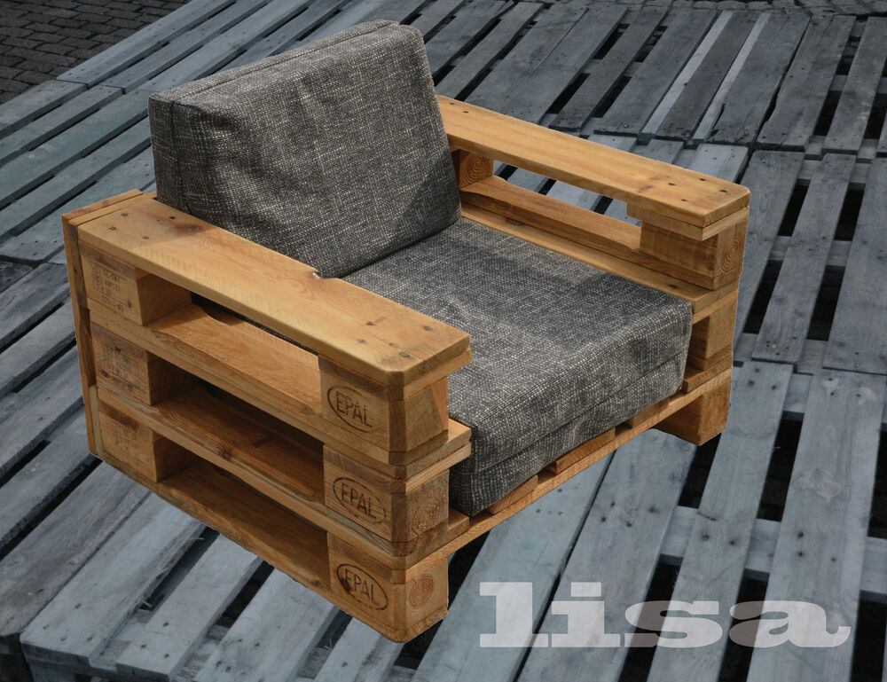 lounge gartenm bel 1 sitzer palettenm bel terrasse vintage design balkon ebay. Black Bedroom Furniture Sets. Home Design Ideas