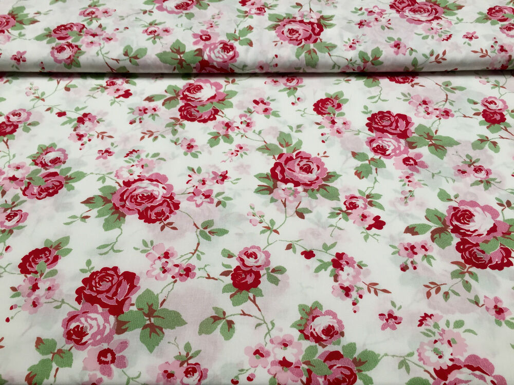 cath kidston ikea rosali 100 cotton fabric material 150cm wide white rose ebay. Black Bedroom Furniture Sets. Home Design Ideas