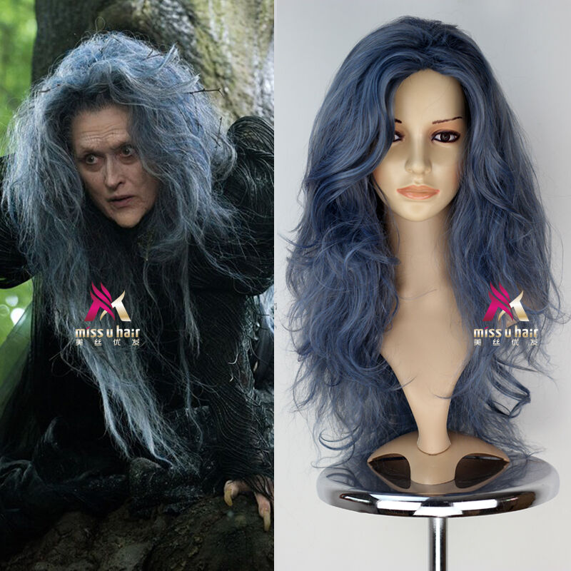 Disney Movie Into The Woods Synthetic Long Wavy Grey Witch